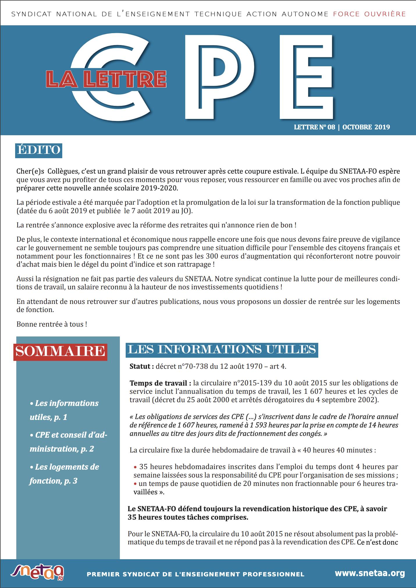 Lettre CPE n°8 – Octobre 2019