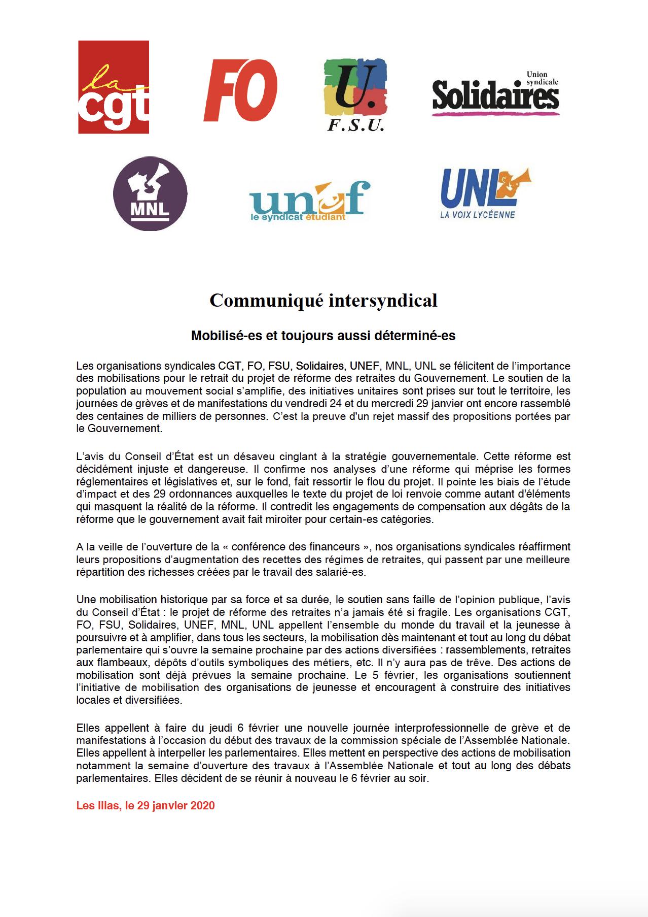 Communiqué Intersyndical