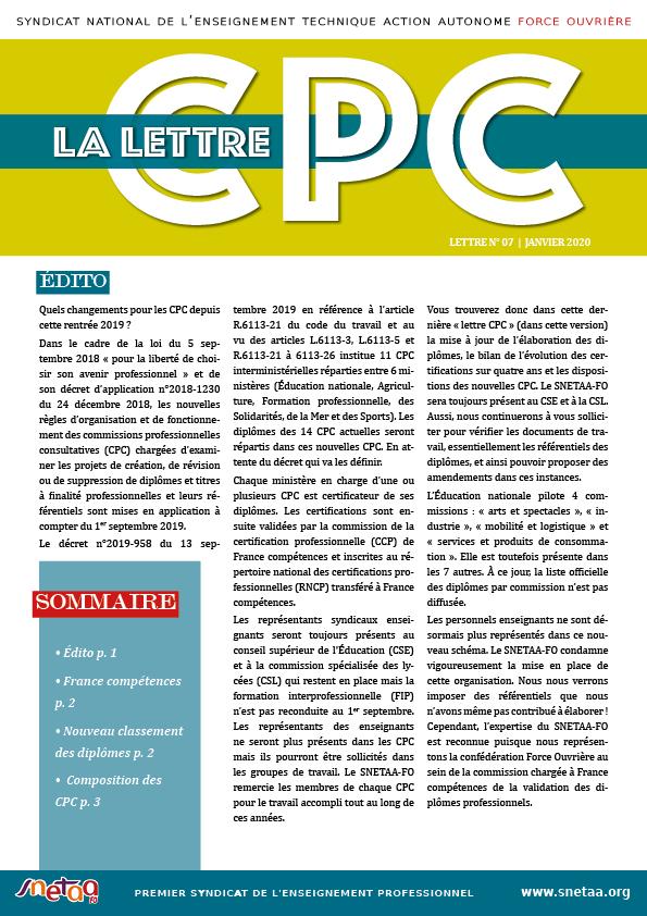 Lettre CPC n°7