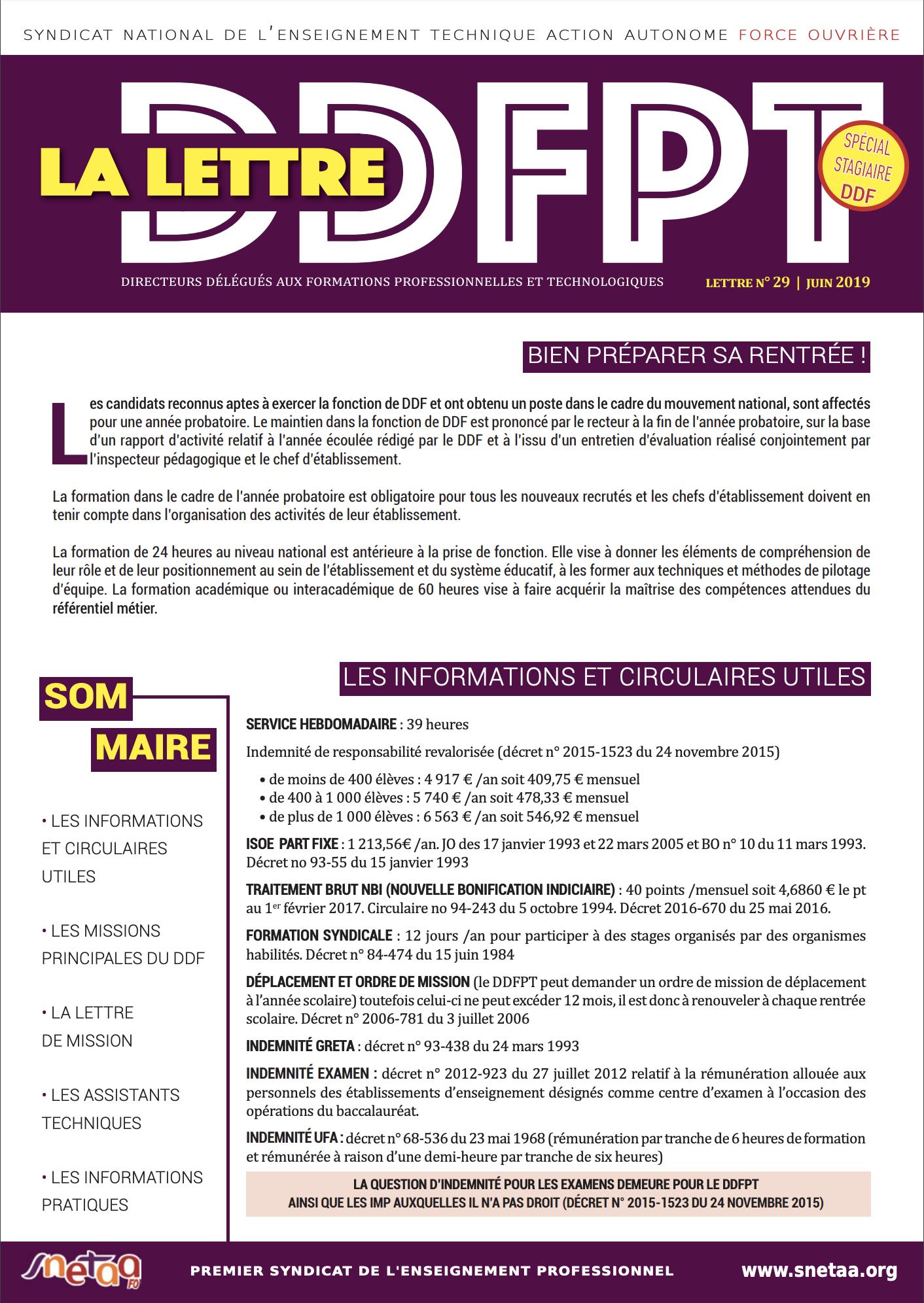 Lettre DDFPT n°29